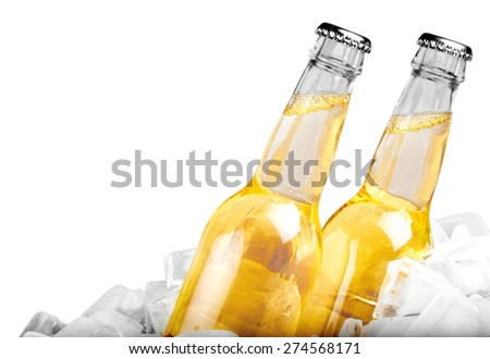 Beer, Beer Bottle, Ice. - stock photo