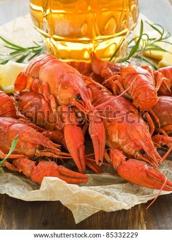 Beer, boiled crawfish with lemon and rosemary. Shallow dof. - stock photo