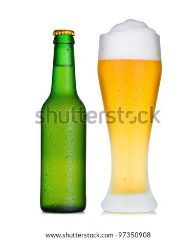 Beer bottle and glass - stock photo