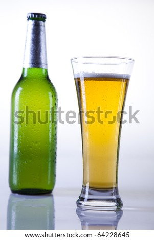 Beer bottle and glass, Green bottle of beer