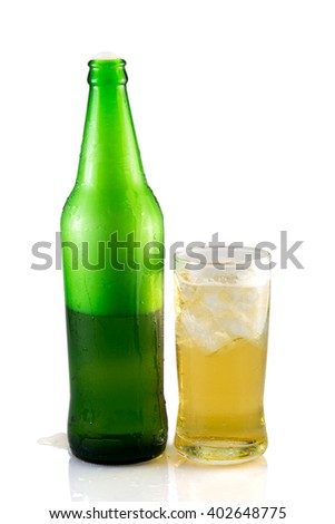 Beer bottle and glass isolated on white background