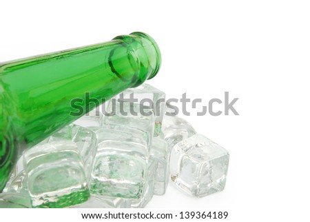 beer bottle and ice with clipping path