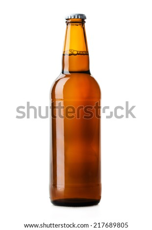 beer bottle brown isolated on white background - stock photo