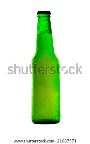 beer bottle covered with water drops, isolated on white with clipping path - stock photo