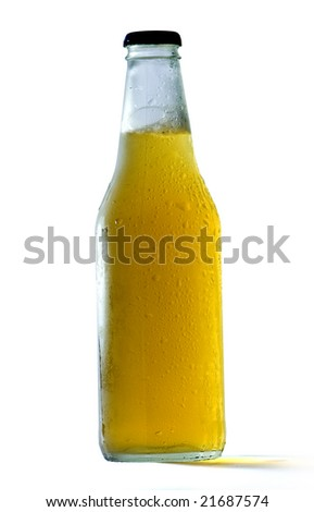 beer bottle covered with water drops, isolated on white with clipping path
