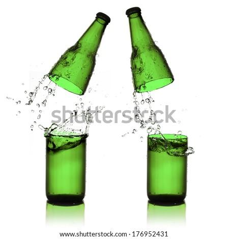Beer bottle cut  and water splash - stock photo