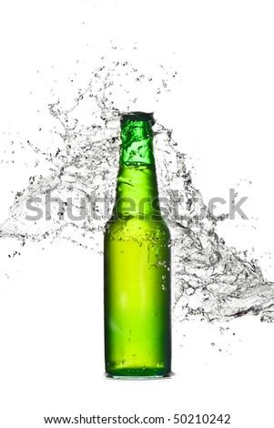 beer bottle fresh splash - stock photo