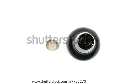 beer bottle from the top - stock photo