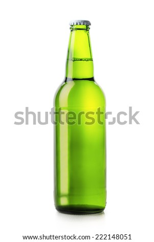 beer bottle green isolated on white background - stock photo