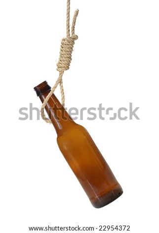 Beer bottle in a noose hanging isolated on white - stock photo
