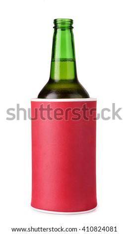 Beer bottle in insulation foam holder isolated on white - stock photo