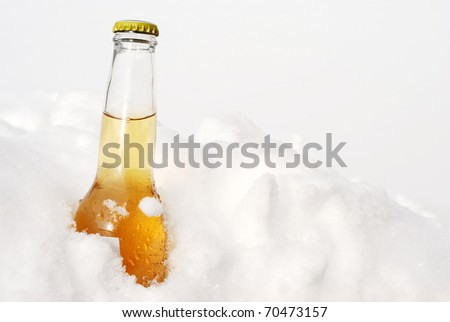 beer bottle in snow - stock photo