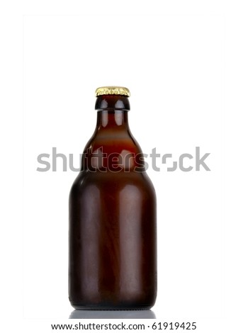 beer bottle - isolated over white - stock photo