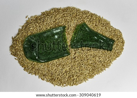 beer bottle made with barley and crushed glass - stock photo