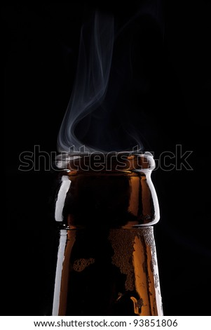 Beer bottle neck with dust - stock photo