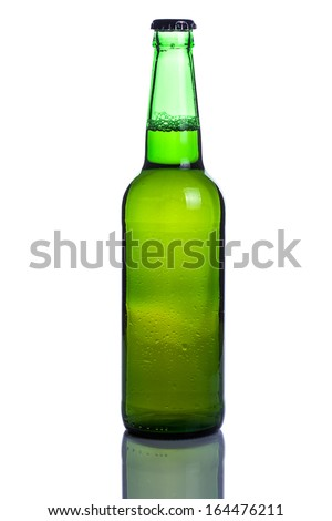 Beer bottle on white background