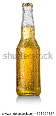 beer bottle studio shot with cap isolated on white - stock photo