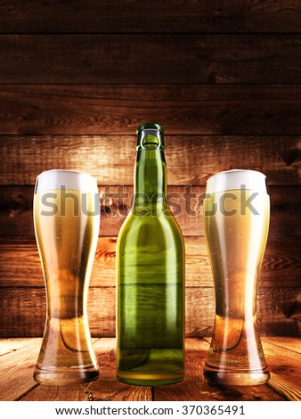 Beer bottle with a glass full of beer on the table. The background Aged board. 3D render - stock photo