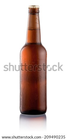 Beer bottle with condensation water drops isolated on white background - stock photo