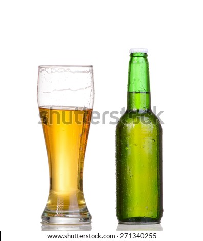 Beer bottle with drops isolated on wgite