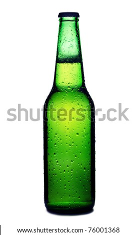Beer bottle with drops isolated on white - stock photo