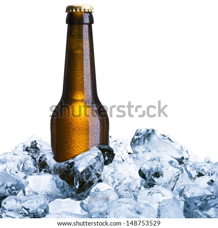 Beer bottle with ice
