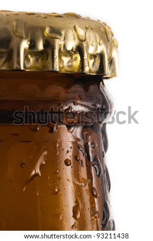 beer bottle with lid, detail vertical photo - stock photo