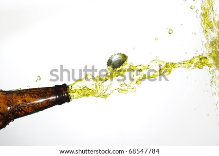 beer bottle with stream fresh drink