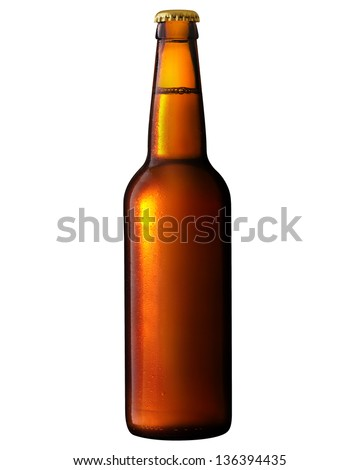 Beer bottle with water drops. Clipping Path - stock photo