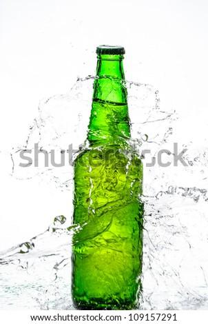 Beer bottle with water splash - stock photo