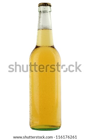 Beer bottle with waterdrops isolated on white background - stock photo