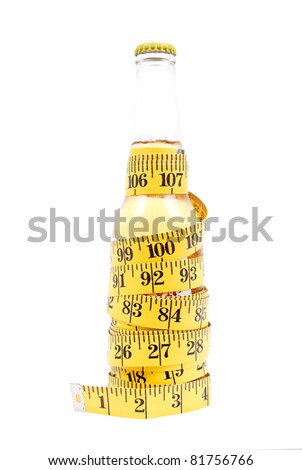 Beer Bottle Wrapped with Tape Measure - stock photo