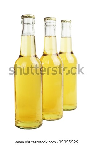 beer bottles, close up, isolated
