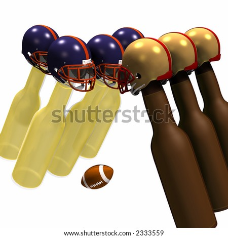 Beer bottles in football helmets square off for a game of football. Isolated on a white background. - stock photo