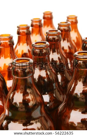 Beer bottles isolated on white background. - stock photo