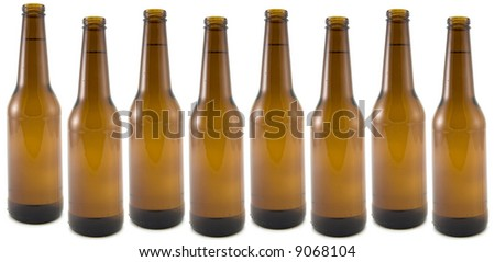 Beer Bottles Isolated on White Background.