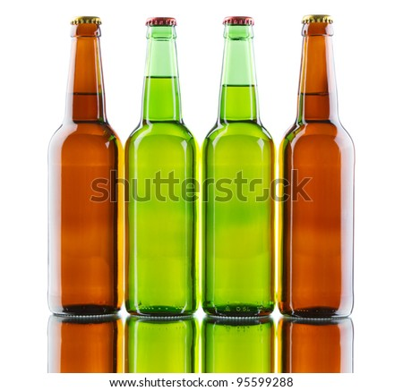 Beer bottles isolated on white background, studio still-life