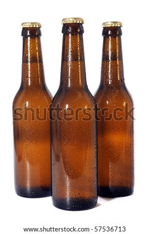 Beer bottles isolated over white background - stock photo