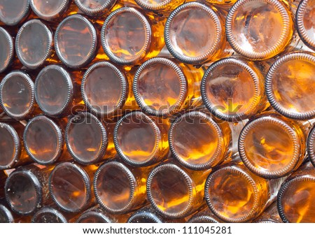 Beer bottles of brown glass,can use  background - stock photo