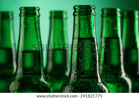 Beer bottles of green glass