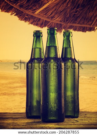Beer bottles on the beach. Retro filter. - stock photo
