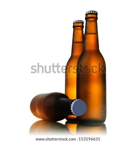 Beer bottles on white background - stock photo