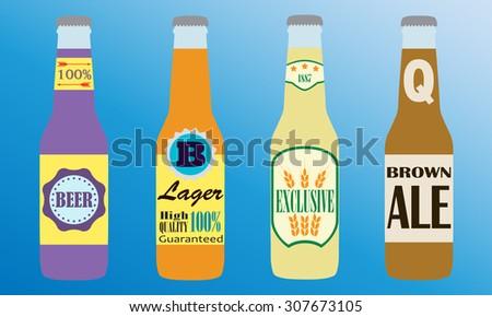 Beer bottles set with label. Colorful icon or sign. Symbol or design elements for restaurant, beer pub or cafe. - stock photo