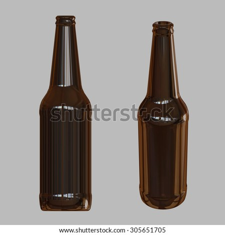 Beer bottles template. Brown color glass. 3D render. - stock photo