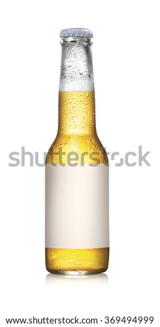 Beer bottles with water droplets on a white background - stock photo