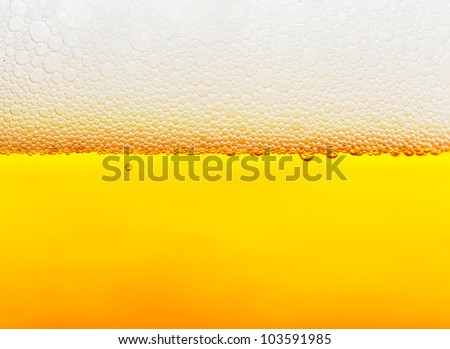 Beer bubbles close up - stock photo