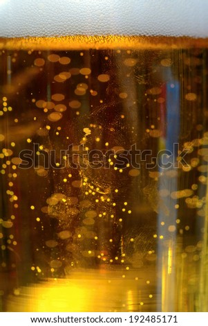 Beer bubbles in the high magnification and close-up. - stock photo