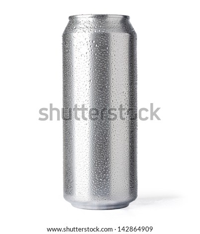 beer can isolated on white background with clipping path - stock photo