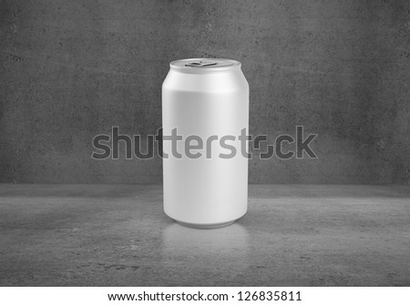 beer can on concerete background - stock photo