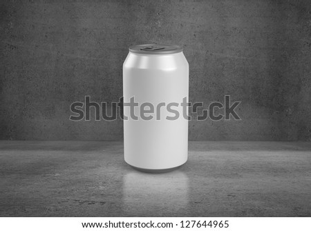 beer can on concrete background - stock photo